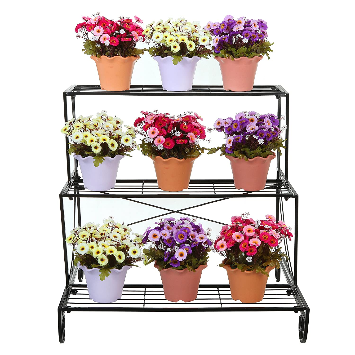 3 Tier Decorative Black Metal Plant Stand Planter Holder