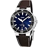 Oris Aquis Date Mens Stainless Steel Automatic Diver Watch Swiss Made - 43mm Analog Blue Face Sapphire Crystal Dive Watch - Brown Leather Band Diving Watches For Men 300M Waterproof 733 7730 4135