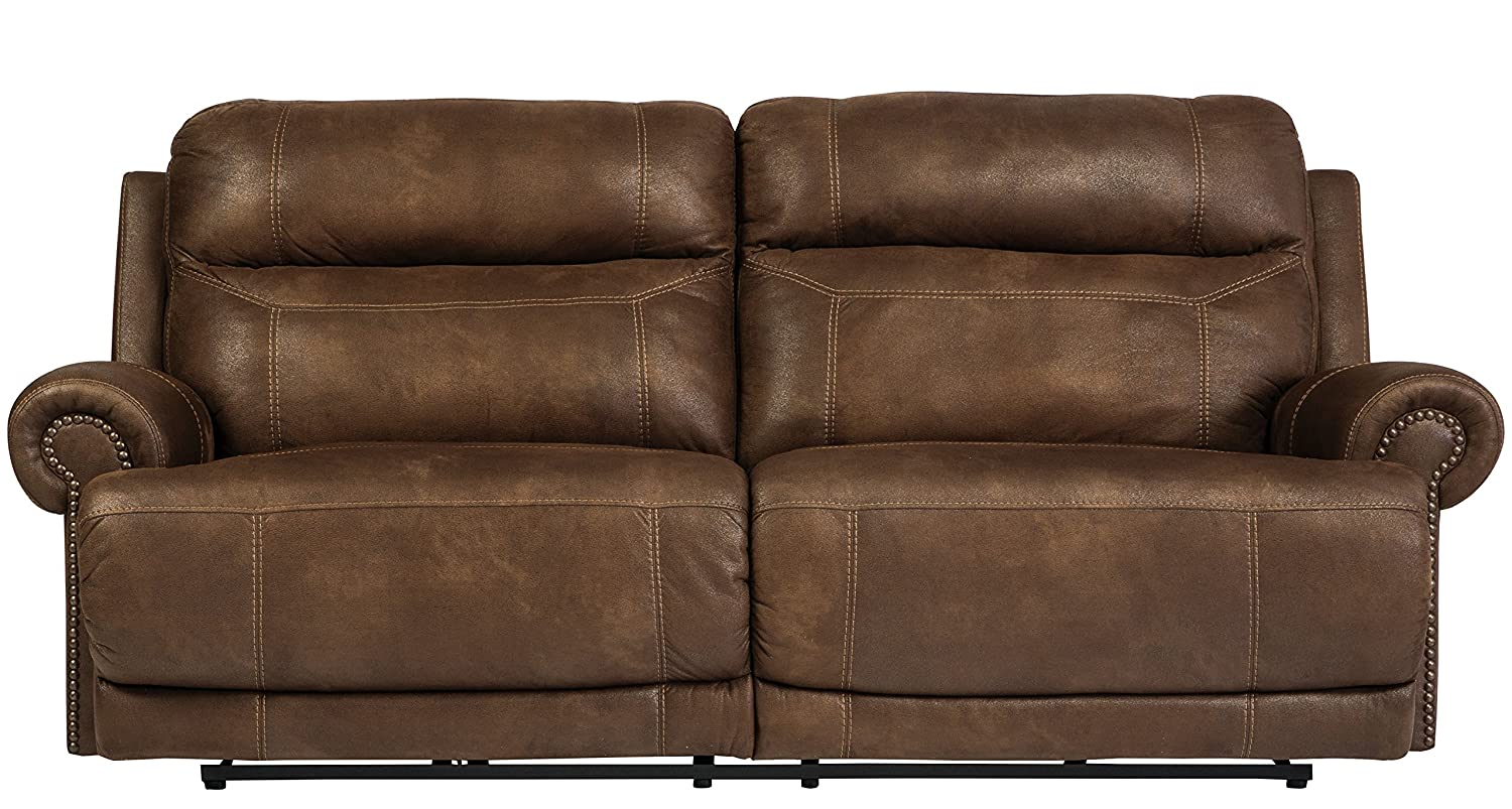 Austere Contemporary Brown Faux leather 2 Seat Reclining Sofa