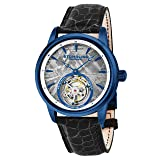 Stuhrling Original Mens Mechanical Tourbillon Watch, Grey Meteorite Dial, Sapphire Crystal, Stainless Steel, Genuine Alligator Leather Strap with Dual Deployant Clasp, 860 Series Limited Edition (Color: Blue)