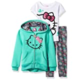 Hello Kitty Toddler Girls' 3 Piece Hooded Legging Set , Mint, 2T (Color: Mint, Tamaño: 2T)