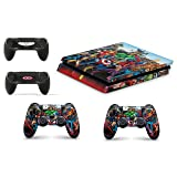 Gizmoz n Gadgetz GNG Superhero Skins for PS4 Playstation 4 Slim Console Decal Vinal Sticker + 2 Controller Set (Color: Superhero, Tamaño: Playstation 4 Slim)