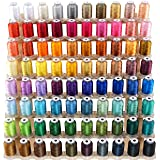 New brothread 80 Spools Polyester Embroidery Machine Thread Kit 500M (550Y) Each Spool - New Colors Assortment (Similar to Janome and RA Colors) (Color: 80 Colors, Tamaño: 500M(550Y))