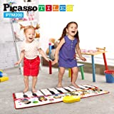 PicassoTiles PTM200 Portable Large Piano Keyboard Educational Music Mat Playmat w/6 Different Musical Instruments,7 Different Demo Songs,17-Key Piano,Build-In Speaker & Recording Function For Playbac
