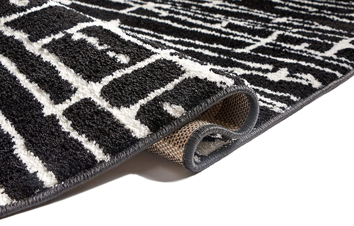 "Ecstatic Tribal Vintage Black White Modern Geometric Microfiber 5x7 (53"" x 73"") Area Rug Abstract Lines Stripes Carpet"
