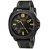 BOSS Orange Men's 1513249 SAO PAULO Black Stainless Steel Watch with Silicone Band (Color: black)
