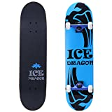 Ice Dragon 31 Inch Cruiser Trick Skateboard For Beginner (Color: blue)