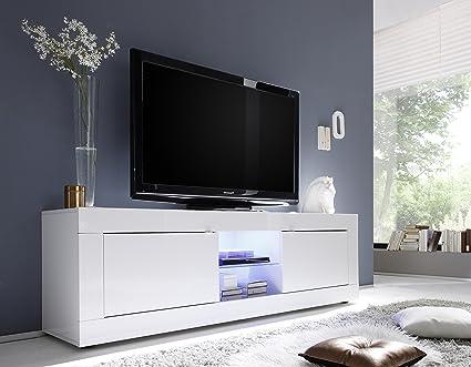TV Schrank Basic 2-turig, 181 x 56 x 43 cm, weiß hochglanz