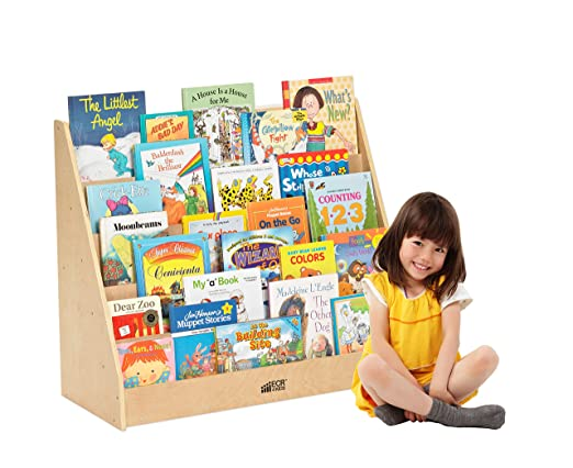 "ECR4Kids Birch Hardwood Single-Sided Book Display, 15"", Natural"