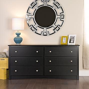 Prepac Sonoma 6-Drawer Dresser, Black