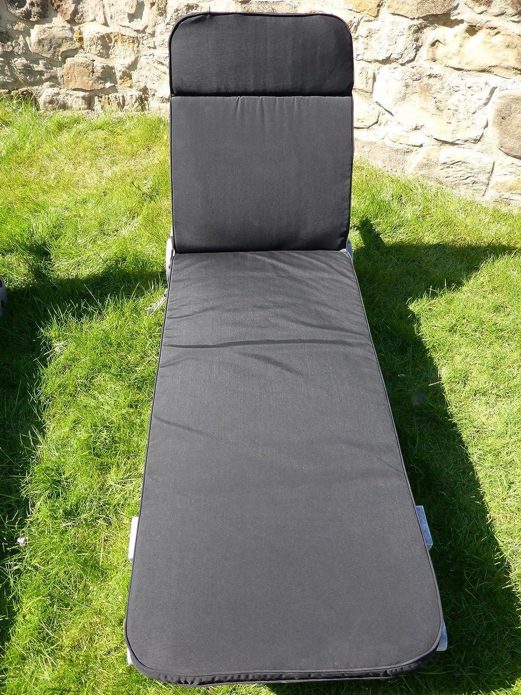 Garden Furniture Cushion – Black Cushion For Garden Sun Lounger Chair 198x60x5 günstig kaufen
