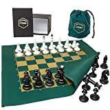 Fabric Board Chess Set – Unique and Engaging Chess Set – Fabric Chess Board with Plastic Game Pieces – Includes Collector's Box and Cloth Travel Bag