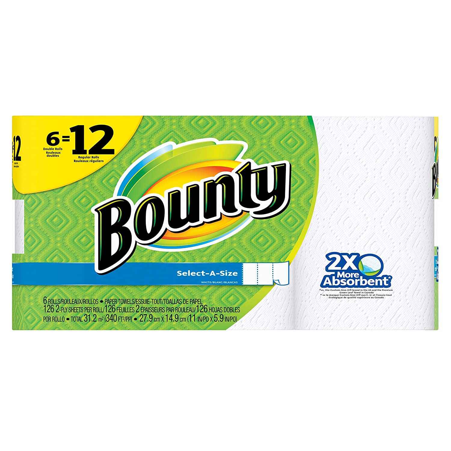 Bounty Select-a-Size Double Roll Paper Towels, White, 6 Count