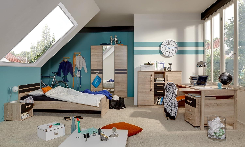 Jugendzimmer mit Bett 90 x 200 cm Eiche sägerau/ lavafarbig online kaufen