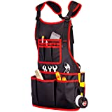 NoCry Heavy Duty Work Apron - 26 Tool Pockets, Tape Measure Holder, D Ring Loop, Black Waterproof Canvas, Adjustable for Men and Women XXS to 4XL (Color: Black & Red)