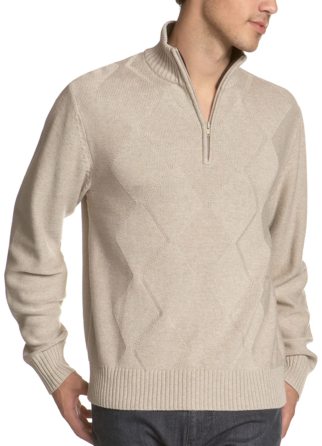 Alex Stevens Men's Diamond 1/2 Zip Sweater,Heather Mushroom,X-Large