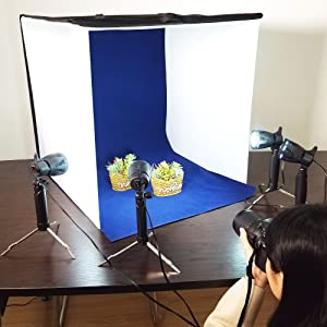 Emart Photography 24 x 24 Inches Table Top Photo Studio Continous Lighting LED Light Shooting Tent Box Kit, Camera Tripod & Cell Phone Holder (Color: White, Tamaño: 24 x 24 Inch)