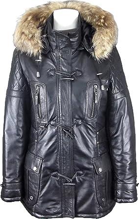 UNICORN Damen Mittlere Länge Mantel Echt Lederjacke mit Kapuze Parka Jacke - Schwarz #GK