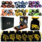 TOYFUL 6 Sets Double-Colors DND Dice Polyhedral Dungeons and Dragons DND RPG MTG Table Game Dice Bulk with Seven Free Drawstring Bags and D&D Dice Tower Gift Package Black (Color: Black)