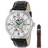 Reloj Stuhrling 730.SET.01 para hombre, Delphi Denmark, Automatico, esqueleto visible, pulsera de cuero negro y una pulsera adicional.