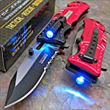 Pocket Knife Tac-Force Red Fire Fighter Led Tactical Rescue (Color: Black, Red)