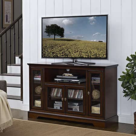 WE Furniture Highboy Wood TV Stand, 52-Inch, Antique Brown