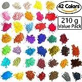 [42 Colors 5gram/0.17ounze each] Mica Powder for Soap Making Dye Kit,Powdered Pigments Set,Bath Bomb Dye Colorant,Makeup Dye Resin Dye,Eye Shadow, Blush,Nail Art,Resin Jewelry,Artist,Craft,Cards