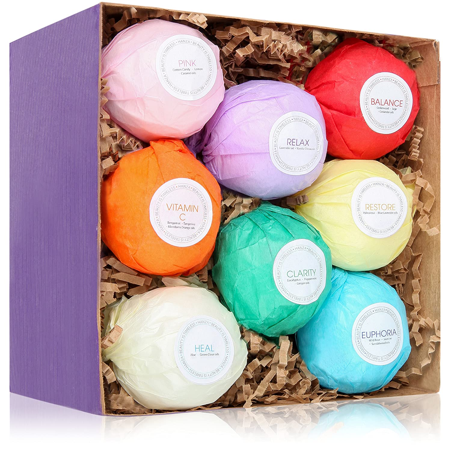 8 Ultra Lush Bath Bomb Gift Set - Bath Bombs Kit - USA Made - Spa Fizzies - Best Gift Ideas - Enjoyable than Bath Beads & other Bath Body Products - Add to bath bubbles - Relaxation Kit Bath Basket