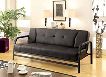 Furniture of America Liddell Leatherette Futon Sofa, Black