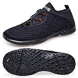 TIANYUQI Men's Mesh Slip on Water Shoes,Allblack 2,45EU/11US