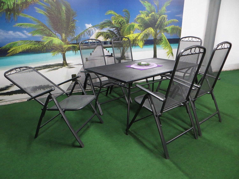 7-teilige Luxus Streckmetall Gartenmöbelgruppe von RRR, Klappsessel und Gartentisch 150x90 anthrazit, P25