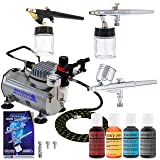 Master Airbrush Premium 3 Airbrush Cake Decorating Kit with G22, S68, E91 Master Airbrushes and TC-20 Air Compressor, 4 Chefmaster Airbrush Food Colors.7 fl oz Bottles (Color: Assorted)