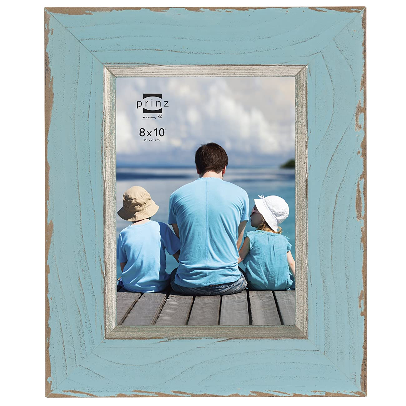 Prinz Clearwater Distressed Wood Frame with Gilded Border, 8 by 10-Inch, Blue 0