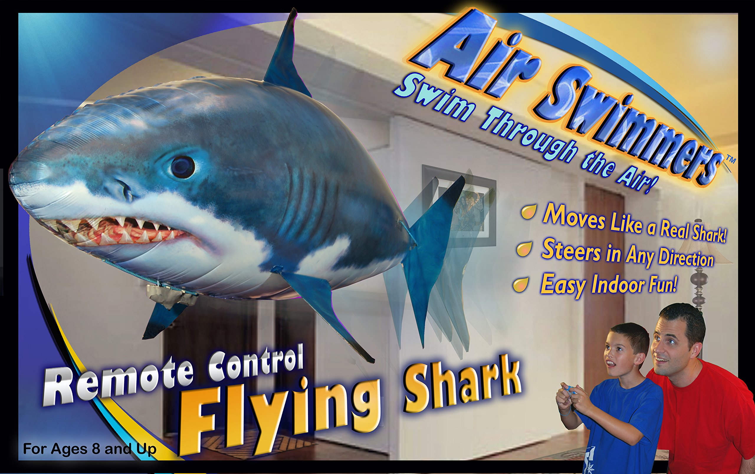 Air swimmers rc remote control flying shark toy kids for Remote control flying fish