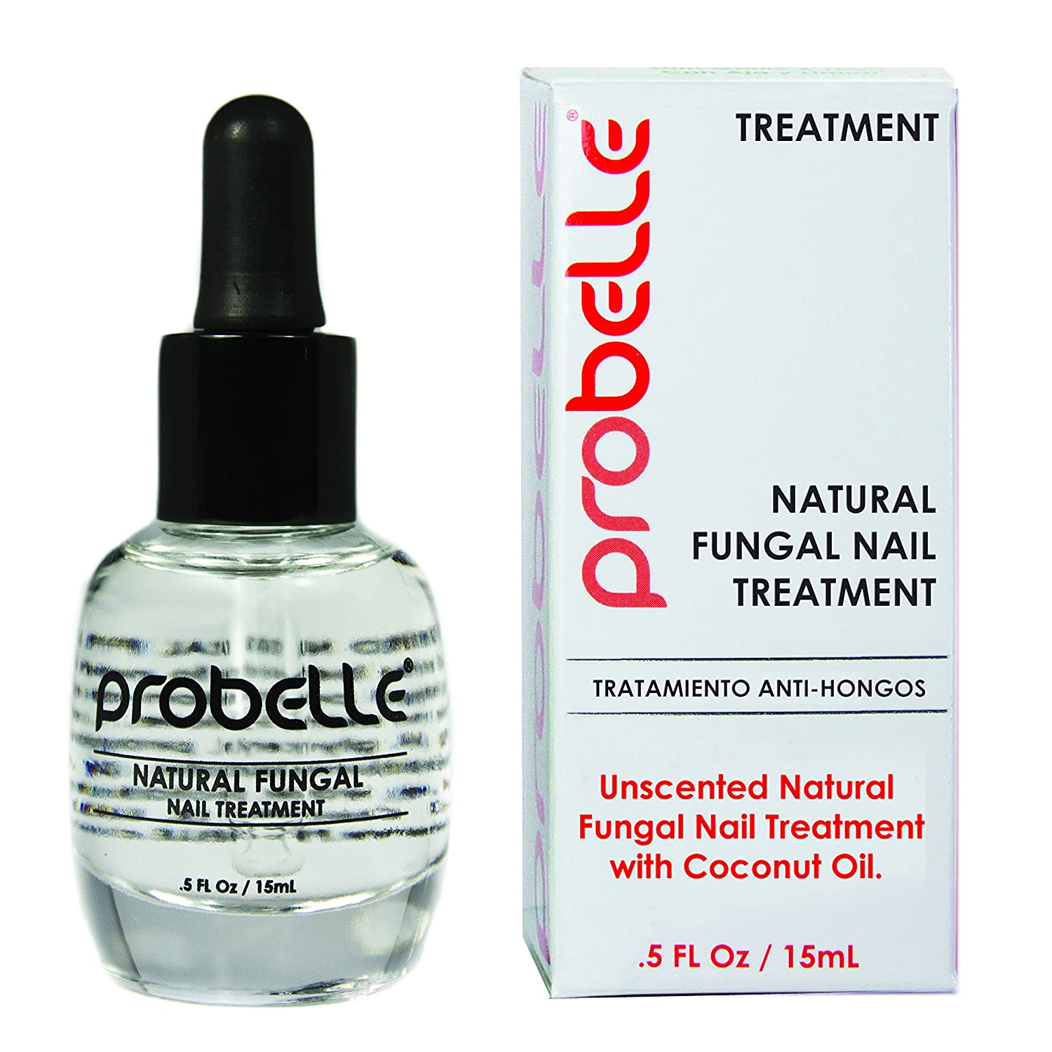 Probelle Natural Fungal Nail Treatment, Anti Fungal Nail Treatment, Nail Color Restoration, Clear, .5 oz/ 15 ml (Patented Formula)