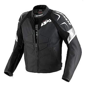 Spidi p 141-011 track blouson de moto en cuir noir/blanc taille 46