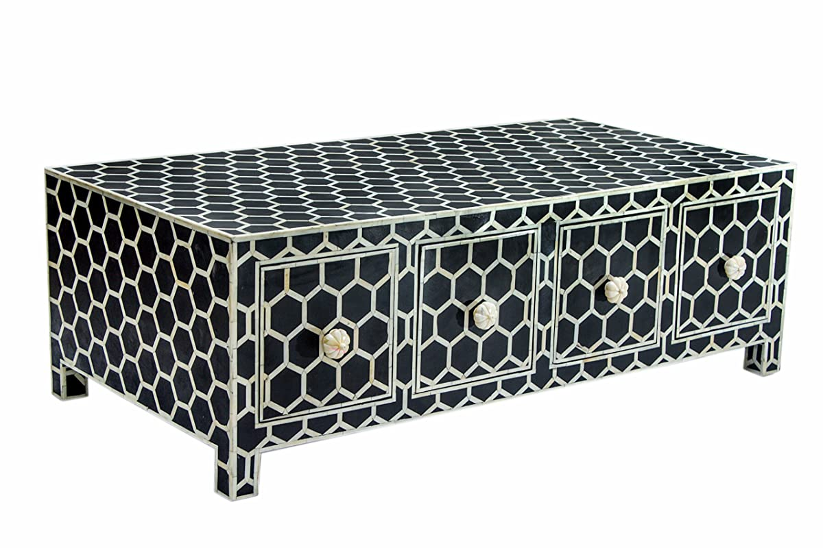 Inlay Side Coffee Table With Drawers