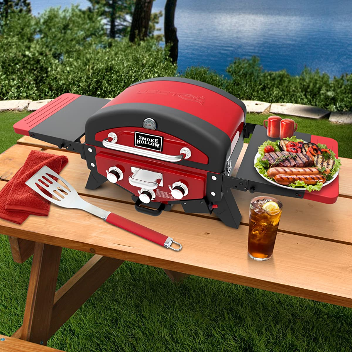 Smoke Hollow Vector 3-Burner Tabletop Propane Gas Grill w/ Smoke Tray and Folding Side Tables