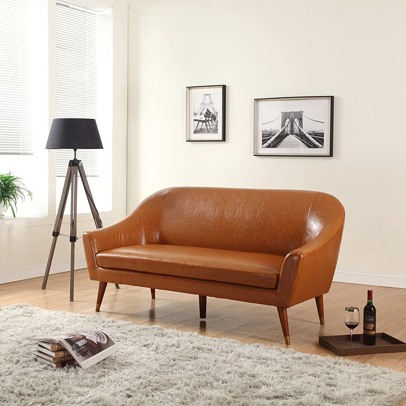 Divano Roma Furniture - Mid Century Modern Sofa - Bonded Leather 0