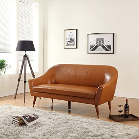 Divano Roma Furniture Signature Collection Mid Century Modern Bonded Leather Living Room Sofa (Camel)