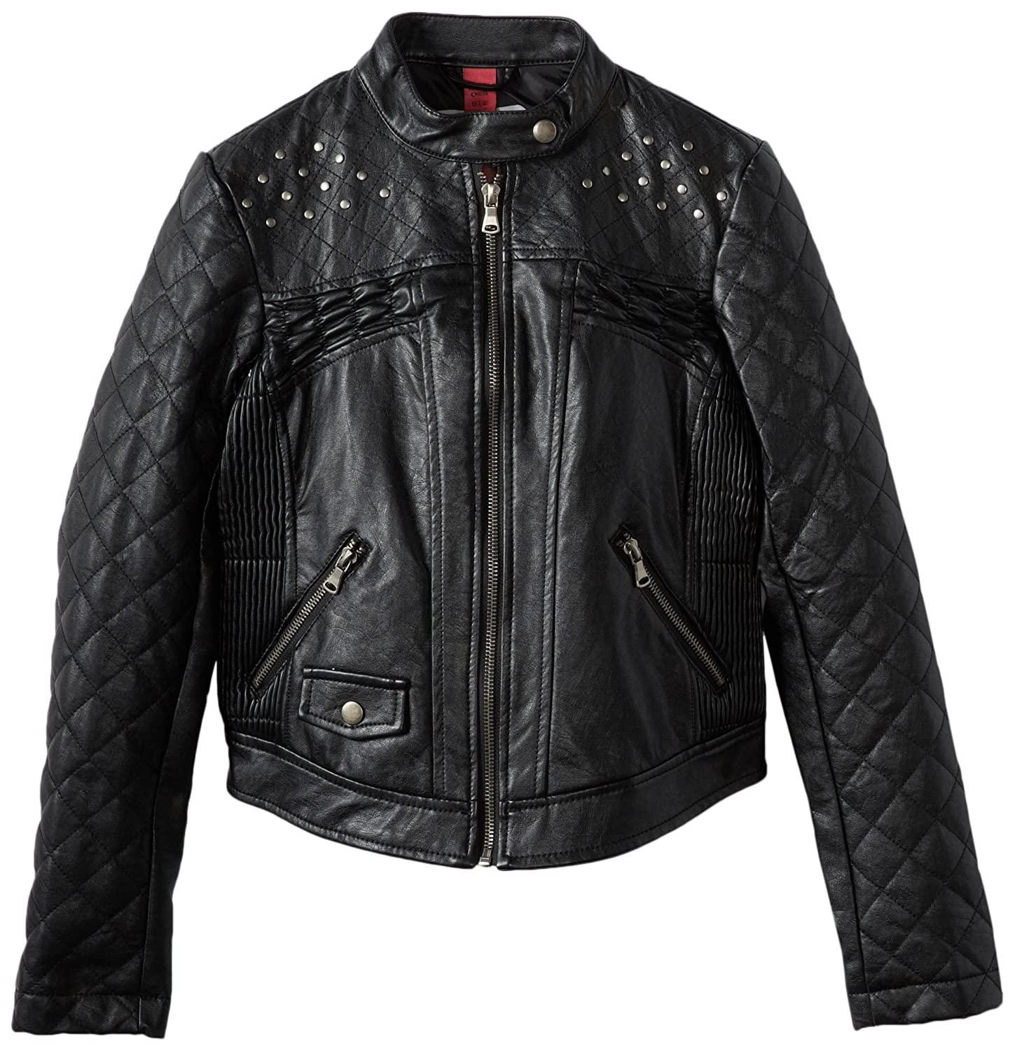 Collection B Girls 7-16 Faux Leather Jacket with Studs At Shoulders