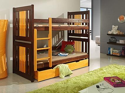 CORNEL Children Bunk Bed - Pine Wood - 22 Colours - 2 Sizes - 4 Types of Mattresses (UK Standard 199cm x 94cm x 160cm)