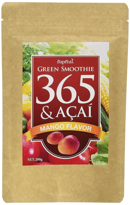 グリーンスムージー365&アサイー マンゴー味 乳酸菌 天然ミネラル 酵素 200g 約33回分