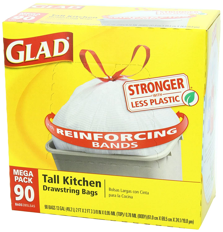 New Glad Tall Kitchen Drawstring Trash Bags 13 Gallon 90