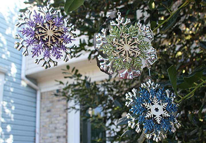 4x Peacock Colored Snowflake Glitter Ornaments