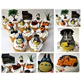 TOTORO 12 Piece Birthday CUPCAKE Topper Set Featuring Chu Totoro, Chibi, Catbus and Other Totoro Characters, Themed Decorative Accessories, Figures Average 1