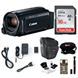 Canon VIXIA HF R800: 1080p HD Video 57x Zoom Camcorder Bundle with 16GB SD Card Video Camera Case and Cleaning Kit - Compact and Affordable Camcorder Kit (Color: Black, Tamaño: Essentials Bundle)