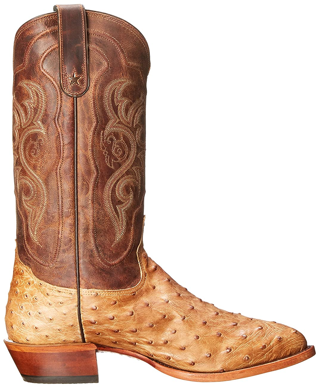 Tony Lama Men's Antique Tan Vintage FQ Ostrich Western Boot 5
