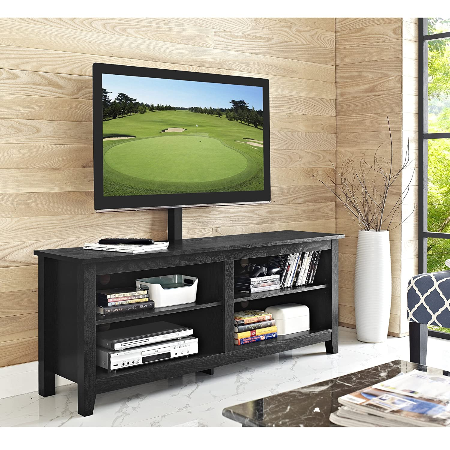 """WE Furniture Minimal Farmhouse Wood Universal Stand with Mount for TV's up to 64"""" Flat Screen Living Room Storage Shelves Entertainment Center, 58 Inch, Black"""