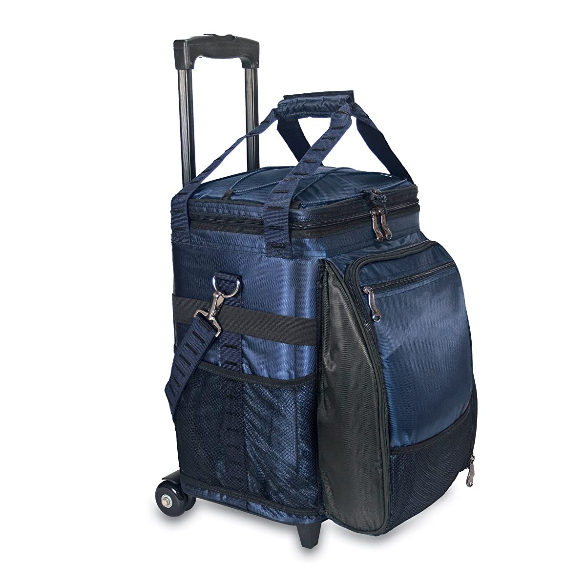 Picnic Time Avalanche Deluxe Picnic Cooler on Wheels with Picnic Service for 4, Navy